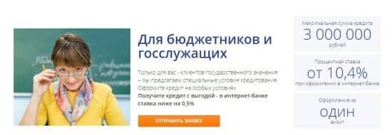 Кредит Промсвязьбанка для госслужащих