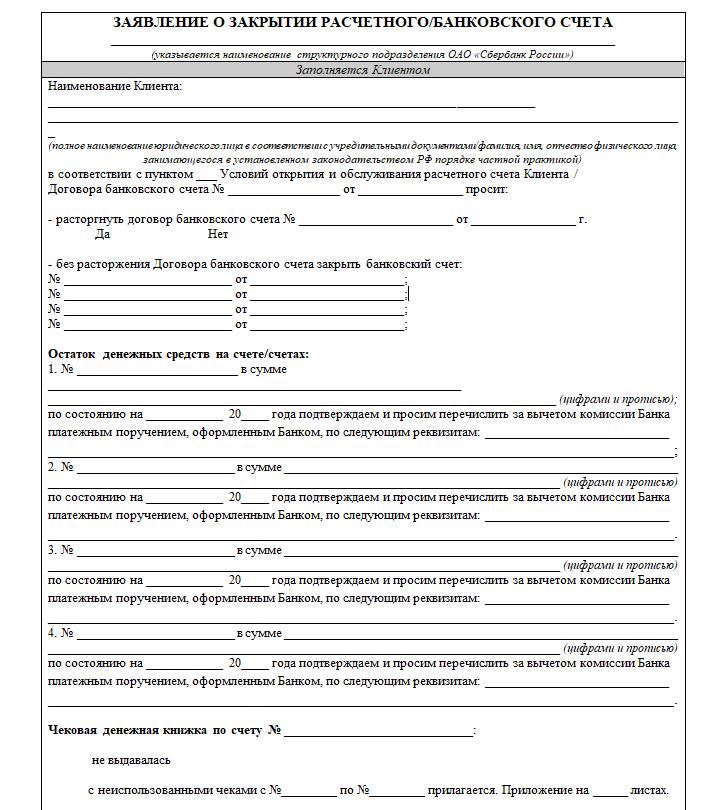 Закрытие расчетного счета ИП в Сбербанке