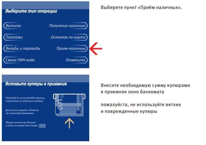 Перевод денежных средств с карты ВТБ через терминал или банкомат